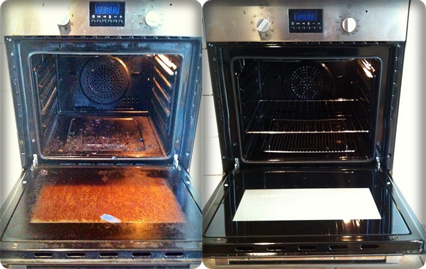 Oven before and after cleaning